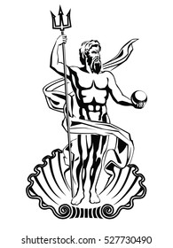 Neptune sea god in Roman mythology. Vector illustration.