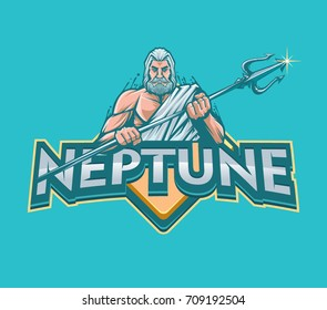Neptune with trident vector