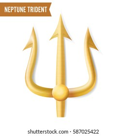 Neptune Trident Vector. Gold Realistic 3D Silhouette Of Neptune Or Poseidon Weapon. Pitchfork Sharp Fork Object. Isolated On White Background.