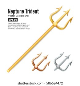 Neptune Trident Vector. Realistic 3D Silhouette Of Poseidon Weapon. Gold, Silver, Bronze. Pitchfork Sharp Fork Object. Isolated On White Background.
