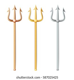 Neptune Trident Vector. Realistic 3D Silhouette Of Poseidon Weapon. Gold, Silver, Bronze Trident. Pitchfork Sharp Fork Object. Isolated On White Background.