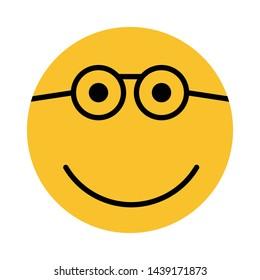 nerd emoticon flat style vector