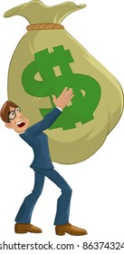 nerd executive carrying a big bag full of money