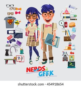Nerd and Geek character design. male and female with graphic element - vector illustration