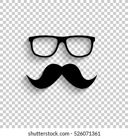 Nerd glasses and mustaches - black vector  icon with shadow