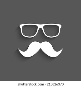Nerd glasses and mustaches with shadow on a grey background