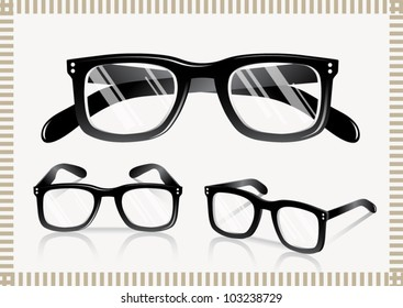 Nerd Glasses - Retro (shadows on separate layers. transparent lens)