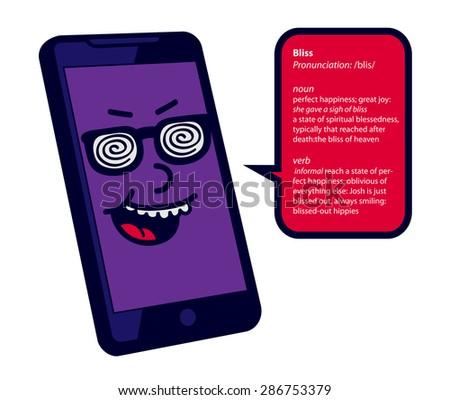 Nerd Knowitall Omniscient Genius Smartphone Character เวกเตอร์สต็อก