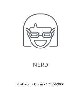 Nerd linear icon. Nerd concept stroke symbol design. Thin graphic elements vector illustration, outline pattern on a white background, eps 10.