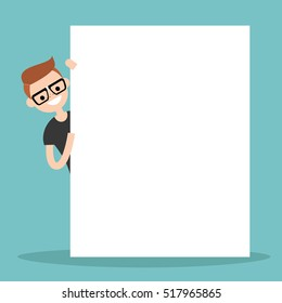 Nerd peeping from behind a blank board mock up / Copy space. Your text here. Editable flat vector illustration, clip art