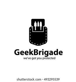 Nerd pocket protector icon design. Geek logo. EPS 10 vector.