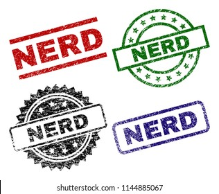 NERD seal prints with corroded texture. Black, green,red,blue vector rubber prints of NERD label with corroded style. Rubber seals with circle, rectangle, medal shapes.
