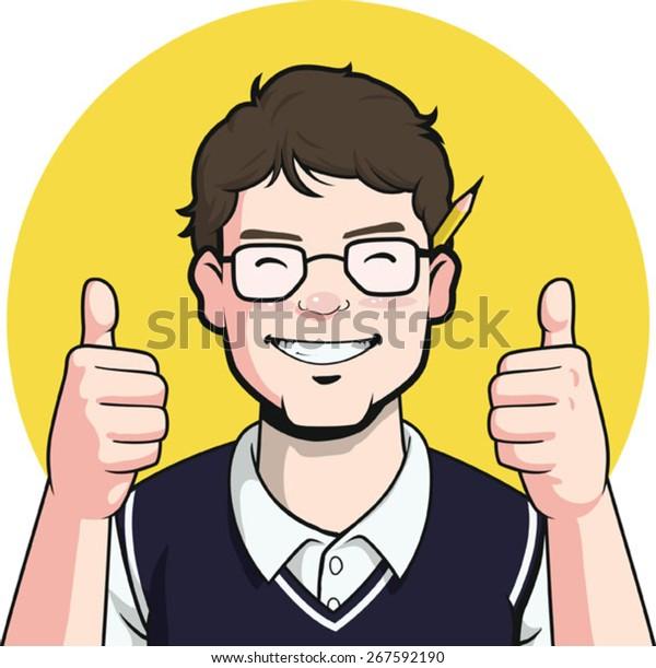 Nerd Writer Guy Mascot - Auftauchen
