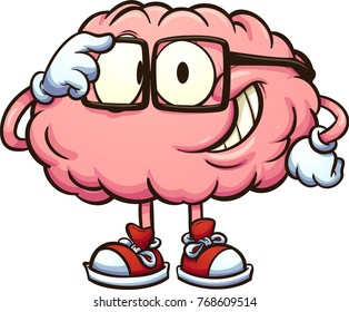 brain cartoon images stock photos vectors shutterstock https www shutterstock com image vector nerdy cartoon brain adjusting glasses vector 768609514