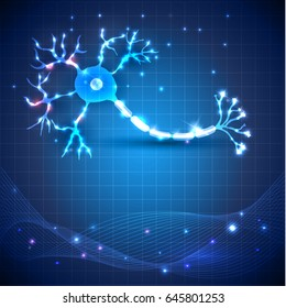 Nerve cell anatomy detailed illustration on an abstract blue scientific background