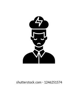 Nervous breakdown black icon, vector sign on isolated background. Nervous breakdown concept symbol, illustration