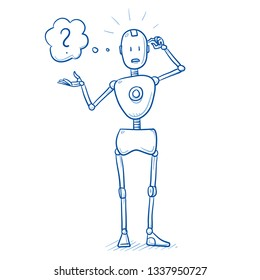 Nervous, clueless humanoid robot with arms in thinking guesture and question mark. Artificial intelligence concept. Hand drawn blue line art cartoon vector illustration.