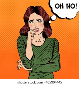 Nervous Pop Art Young Woman Biting her Nails. Vector illustration