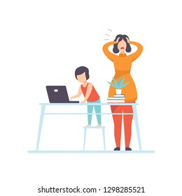 Nervous Young Mother Trying to Work at Home at Computer, Freelancer, Parent Working with Children, Kid Playing at Parent Office Vector Illustration