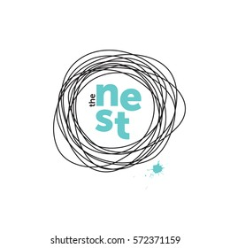 The nest creative logo. Robin eggs. Doodling