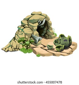 Nest of the dinosaur. The remains of the eggshell of a prehistoric reptile. Vector illustration.