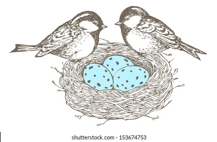 Nest with eggs and birds are separate groups, all fills and outlines are separate groups too, colors can be changed easily.
