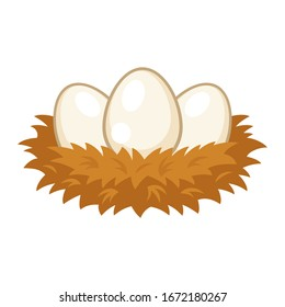 Nest with eggs cartoon on white background, vector illustration