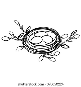 Nest with eggs, simple hand drawn vector illustration