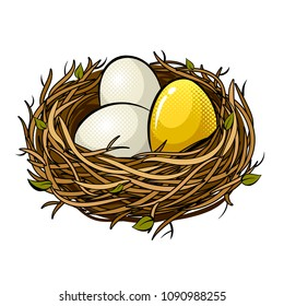 Nest with golden egg pop art retro vector illustration. Isolated image on white background. Comic book style imitation.