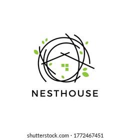 nest house logo vector icon illustration