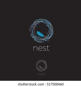 Nest Logo. Soft logo, comfort emblem. Luxury linen. Bedding logo. Nest with feather on a dark background.