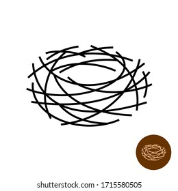 Nest logo. Thin lines empty bird's nest isolated symbol. Adjustable stroke width.