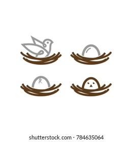nest logo, Vector of bird's nest and eggs on white background