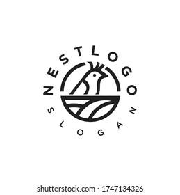 Nest Logo Vector Stock Modern Simple Vector. Bird Nest Logo Design Template.