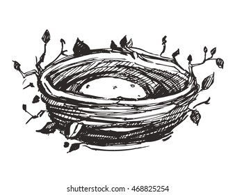 Nest sketch. Hand drawn vector illustration