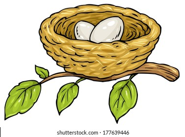 Nest with two eggs - Cartoon Illustration