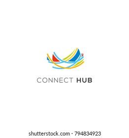 Nest vector logo. Connect emblem. Community sign