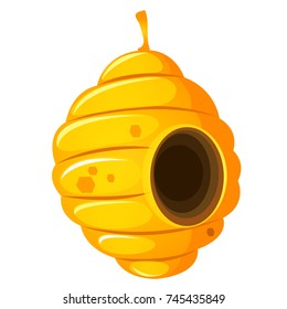 Nest or vespiary of wild bees isolated on white background. Vector cartoon close-up illustration.