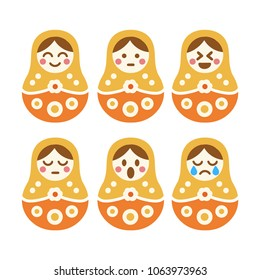 Nested doll. Set of vector hand drawn doodles, icons, illustrations on white background.
