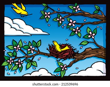 Nesting Birds. Illustration of two yellow birds building a nest.