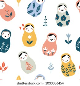 Nesting doll seamless pattern. Matryoshka, Russian doll with doodle floral ornaments. Background with cute cartoon traditional wooden toys and flowers. Vector hand drawn illustration. Kids theme