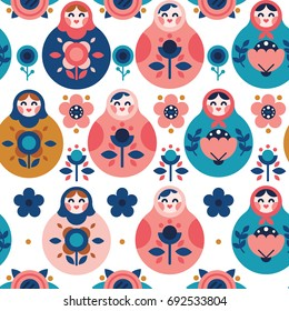 Nesting Dolls Russian folk seamless pattern
