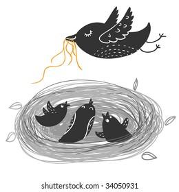 Nestlings in nest . Cartoon vector