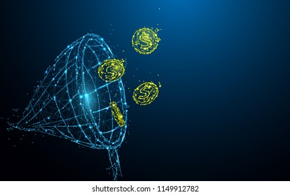 Net chasing money form lines, triangles and particle style design. Illustration vector