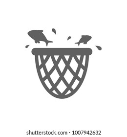Net with fish icon vector
