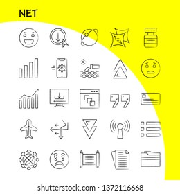 Net Hand Drawn Icons Set For Infographics, Mobile UX/UI Kit And Print Design. Include: Mobile, Phone, Cell, Setting, Arrow, Bar, Chart, Antique, Icon Set - Vector