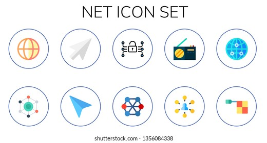 net icon set. 10 flat net icons.  Collection Of - earth grid, networking, cursor, connect, radio, network, internet, offside