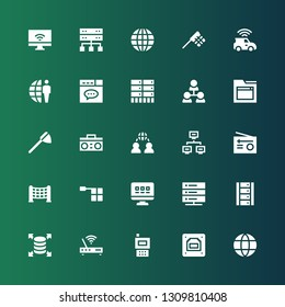 net icon set. Collection of 25 filled net icons included Network, Ethernet, Radio, Modem, Server, Web, Offside, Net, Website, Hierarchical structure, Earth grid, Connection, Internet