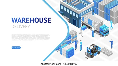 Net page with isometric design of modern cartoon warehouse showing delivery system work