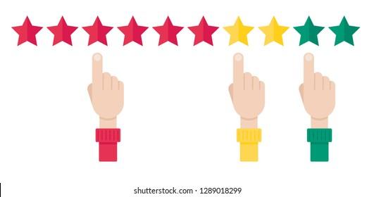 Net promoter score, loyalty concept. Man finger choosing someting. Vector illustration in flat style
